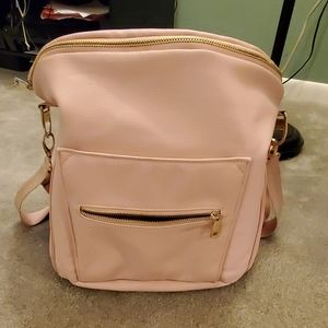 Fawn blush pink faux leather backpack diaper bag
